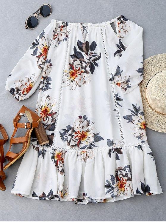 فستان قطع طباعة الأزهار كشكش الحاشية - أبيض XL