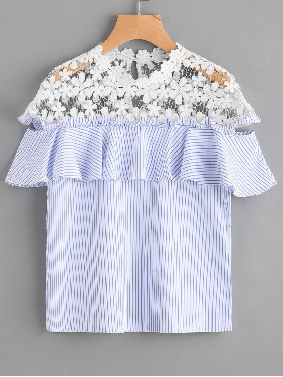 outfit Stripes Ruffles Lace Panel Top - STRIPE S