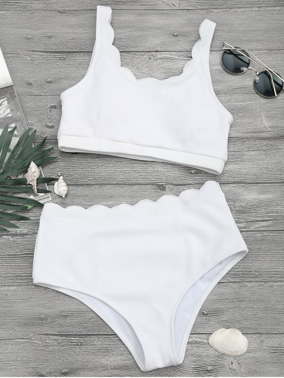 outfit Scalloped High Waisted Bralette Bikini Set - WHITE M