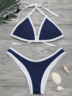 High Cut Contrast Piping Bikini Set - Navy M