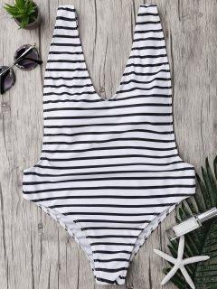 زائد حجم الجانب المعتوه مخطط ملابس السباحة - أبيض وأسود 2xl