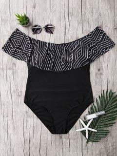 Plus Size Ruffles Off The Shoulder Swimsuit - Black 3xl