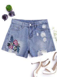 Floral Embroidered Destroyed Cutoffs Denim Shorts - Denim Blue S