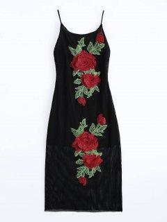 Floral Patched Fishnet Cami Dress - Black L
