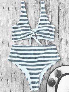 Knotted Striped High Waisted Bikini Set - Stripe M