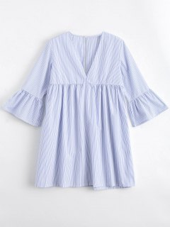 Flare Sleeve Stripes Cut Out Tunic Dress - Stripe S