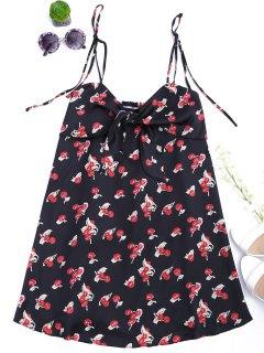 Bowknot Cherry Cut Out Slip Dress - Black S