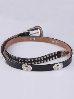Engraved Pin Buckle Rivet Waist Belt - Black