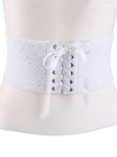 Lacework Lace Up Vintage Corset Belt - White