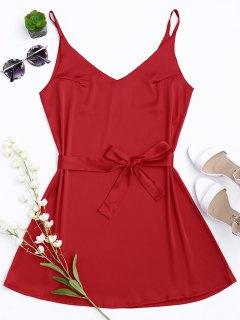 Satin Cami Slip Dress With Choker Strap - Red S
