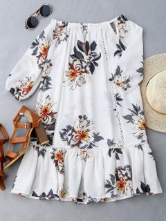 Cut Out Floral Print Ruffle Hem Dress - White Xl