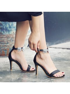 Rhinestone Flower Open Toe High Heel Sandals - Black 40