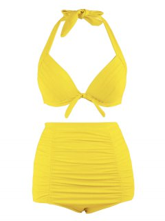 Plus Size Halter Vintage High Waist Bikini Swimwear - Yellow 4xl