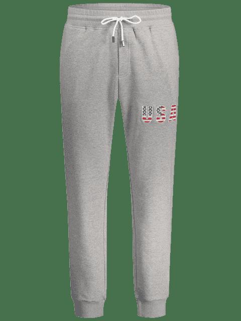 chic USA Embroidery Drawstring Jogger Pants - LIGHT GRAY M Mobile