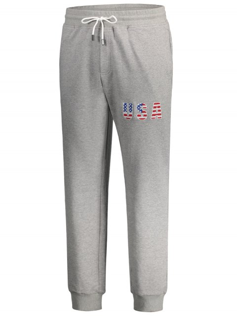 unique USA Embroidery Drawstring Jogger Pants - LIGHT GRAY XL Mobile
