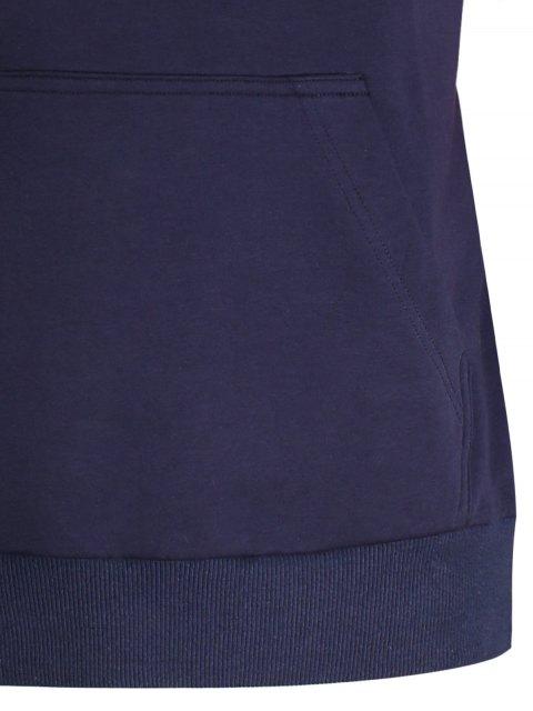 affordable Kangaroo Pocket Striped Pullover Hoodie - PURPLISH BLUE L Mobile