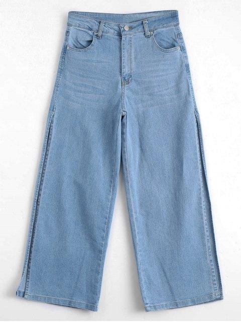 new Ninth High Slit Wide Leg Jeans - DENIM BLUE L Mobile