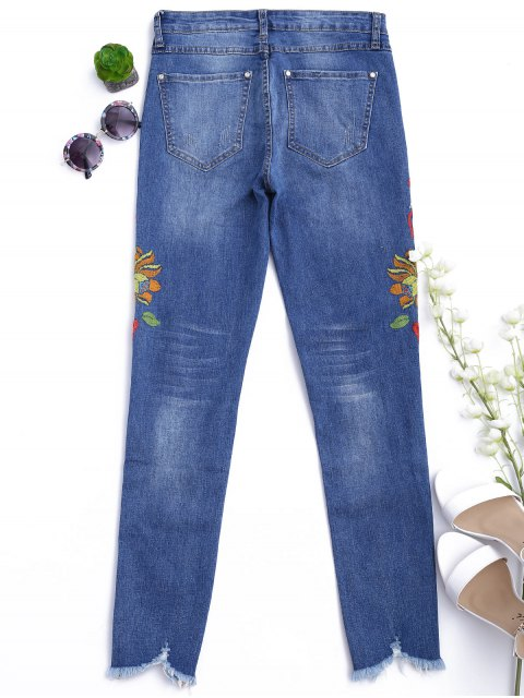shops Cutoffs Floral Embroidered Narrow Feet Jeans - DENIM BLUE S Mobile