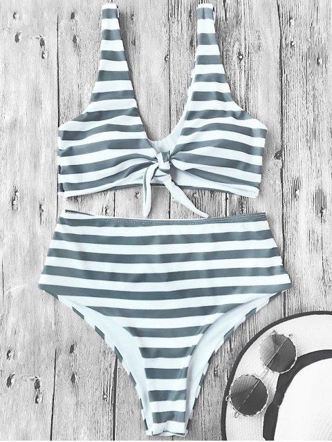 Ensemble de bikini à rayures hautes et rayées nouées - Rayure S Mobile