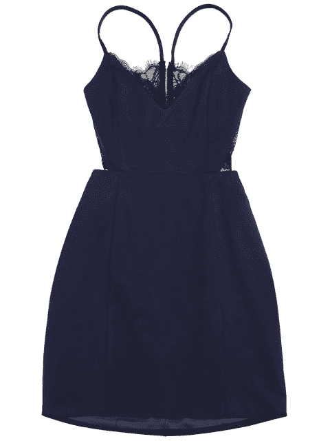 latest Zippered Lace Panel Fitted Cami Dress - PURPLISH BLUE M Mobile