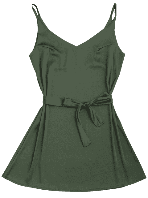 trendy Satin Cami Slip Dress With Choker Strap - ARMY GREEN M Mobile