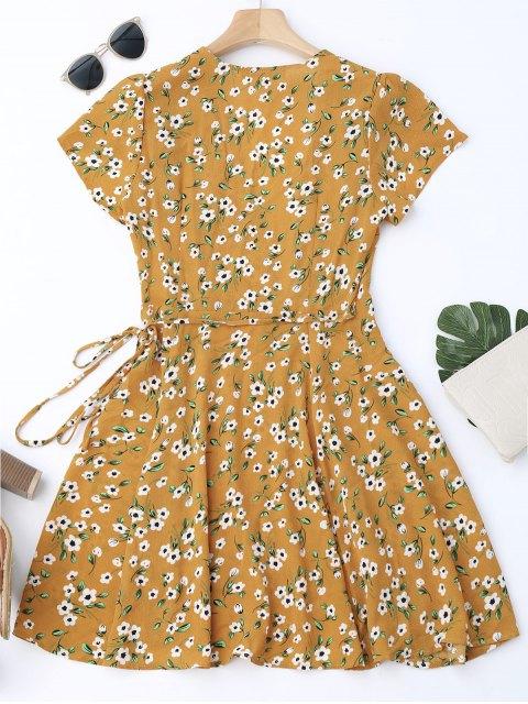 shop Tiny Floral Mini Wrap Dress - YELLOW M Mobile