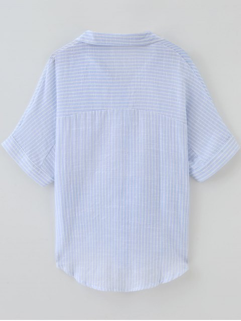 sale Knotted Striped Pockets Dip Hem Shirt - STRIPE ONE SIZE Mobile