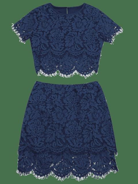 women Scalloped Lace Top and Skirt Set - PURPLISH BLUE S Mobile