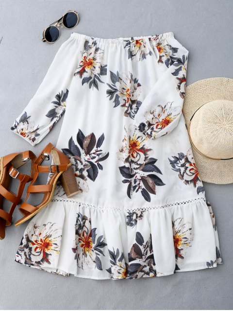 ladies Cut Out Floral Print Ruffle Hem Dress - WHITE M Mobile