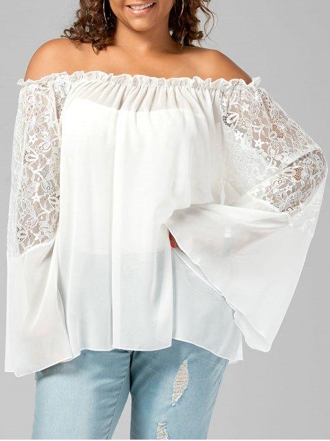 buy Lace Trim Off The Shoulder Plus Size Top - WHITE XL Mobile