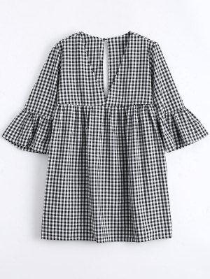 Flare Sleeve Checked Shift Mini Dress - Checked S