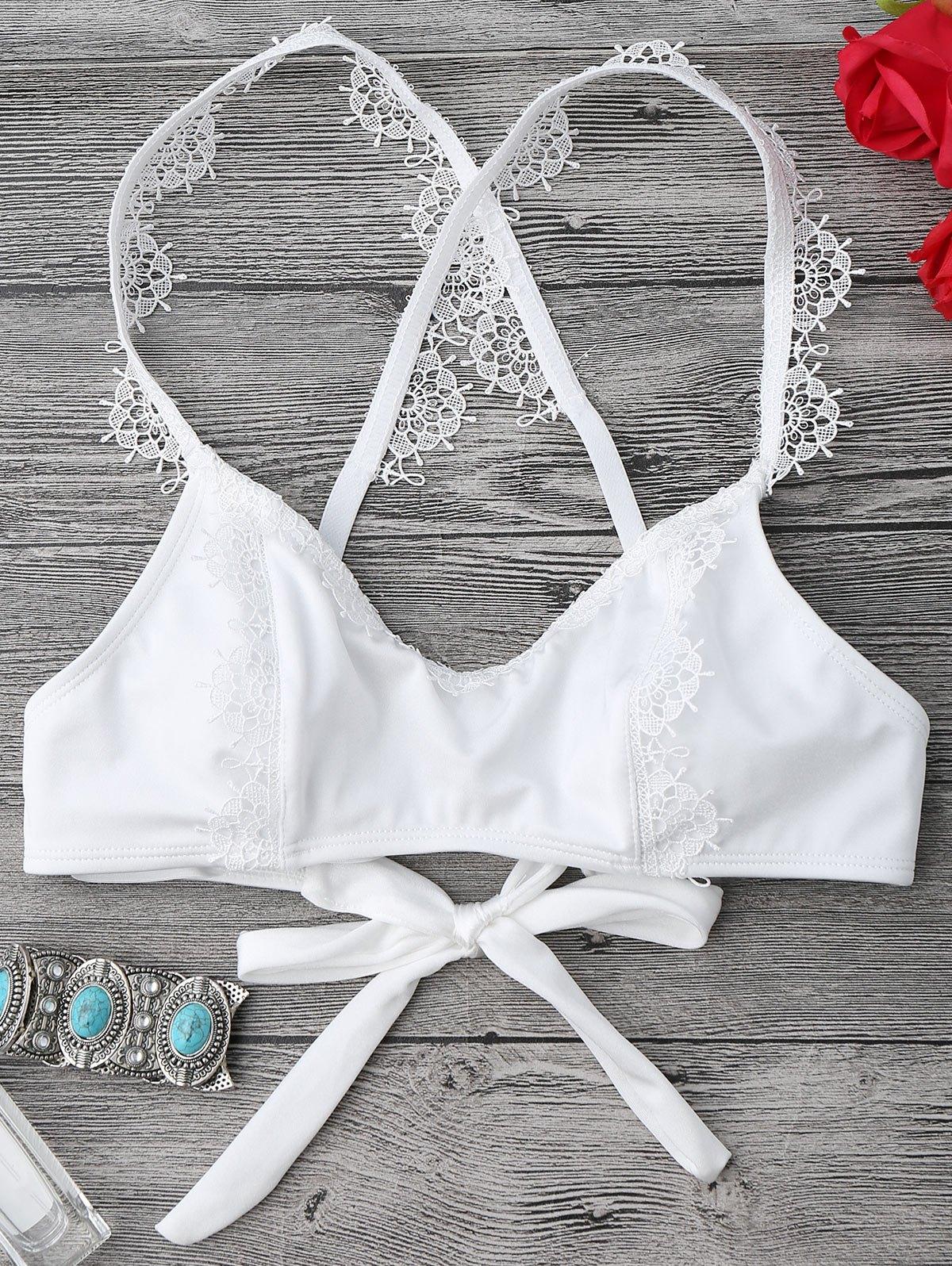 Self Tied Cross Back Lace Trim Bikini Top 217951801