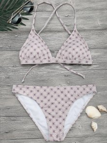 Padded Printed Strappy Bikini Set - Floral L