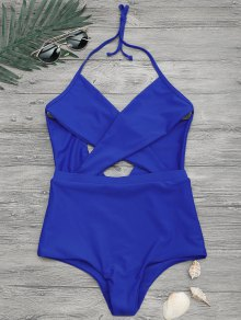 Cut Out Cross Front One Piece Swimsuit - Blue L
