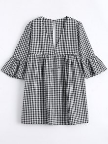 Buy Flare Sleeve Checked Shift Mini Dress - CHECKED L