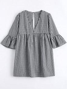 Flare Sleeve Checked Shift Mini Dress - Checked S