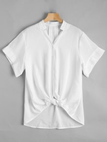 V Neck Button Up Longline Blouse - White M