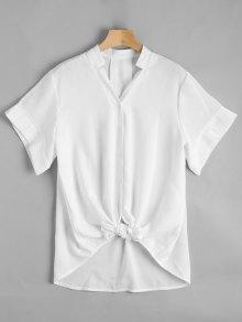 V Neck Button Up Longline Blouse - White Xl