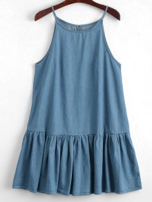 Keyhole Casual Ruffles Slip Dress - Denim Blue S