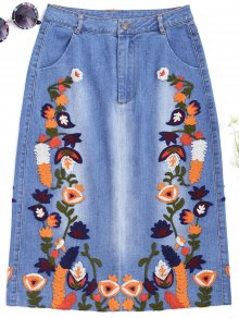 Floral Embroidered Midi Denim Skirt - Denim Blue S