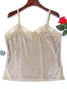 Lace Panel Side Slit Cami Top - Yellowish Pink M