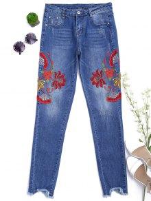 قطع الأزهار المطرزة ضيق أقدام الجينز - ازرق L