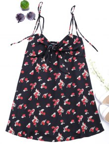 Bowknot Cherry Cut Out Slip Dress - Black S
