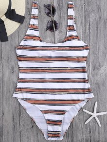 Striped High Cut One Piece Swimsuit - White And Brown S