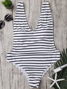 Plus Size Side Boob Striped Swimsuit - White And Black 4xl