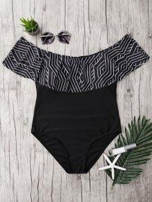 زائد حجم الكشكشة قبالة الكتف ملابس السباحة - أسود 5xl