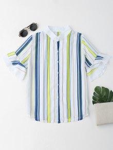 Stripes Flare Sleeve See Thru Shirt - Stripe