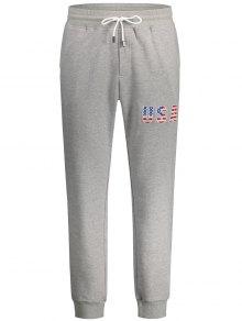 USA Embroidery Drawstring Jogger Pants - Light Gray Xl
