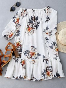 Cut Out Floral Print Ruffle Hem Dress - White M