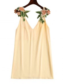 Floral Patched Shift Dress - Champagne L